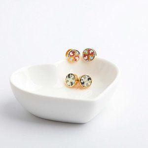 Tory Burch Enamel Round Double Simple Earrings
